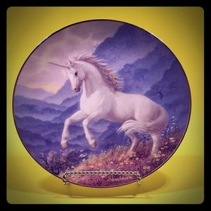 Artist signed Unicorn Collector Plate